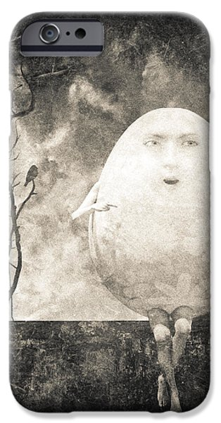 Frame Shop Digital Art iPhone Cases - Humpty Dumpty iPhone Case by Bob Orsillo
