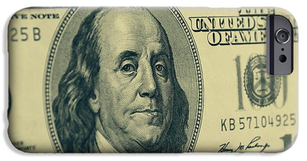 Franklin iPhone Cases - Hundred dollar banknote iPhone Case by Les Cunliffe