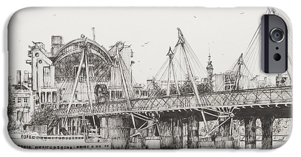Harbor Drawings iPhone Cases - Hungerford Bridge iPhone Case by Vincent Alexander Booth