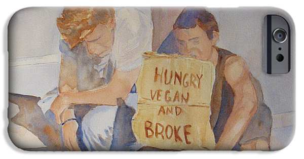Homeless iPhone Cases - Hungry Vegan and Broke iPhone Case by Jenny Armitage