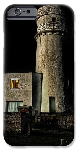 Lighthouse iPhone Cases - Hunstanton Lighthouse at night iPhone Case by John Edwards