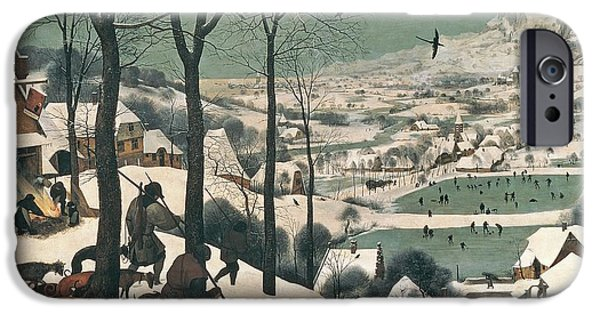 Snow Landscape iPhone Cases - Hunters in the Snow iPhone Case by Pieter the Elder Bruegel