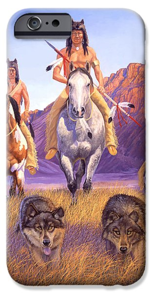 Native American Art iPhone Cases - Hunters Of The Full Moon iPhone Case by Howard Dubois