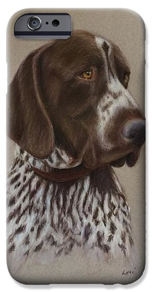 Dogs iPhone Cases - Hunting Dog Hank iPhone Case by Luci Garten