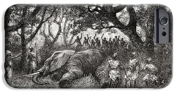 African Animal Drawings iPhone Cases - Hunting Elephants In Central Africa In iPhone Case by Ken Welsh