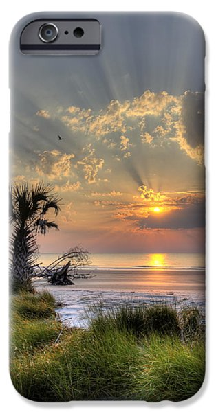 Sun Rays Digital iPhone Cases - Hunting Island SC Sunrise Palm iPhone Case by Dustin K Ryan