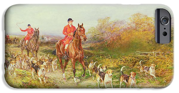 Fall Scenes iPhone Cases - Hunting Scene iPhone Case by Heywood Hardy