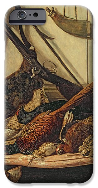 Dog Head iPhone Cases - Hunting Trophies iPhone Case by Claude Monet