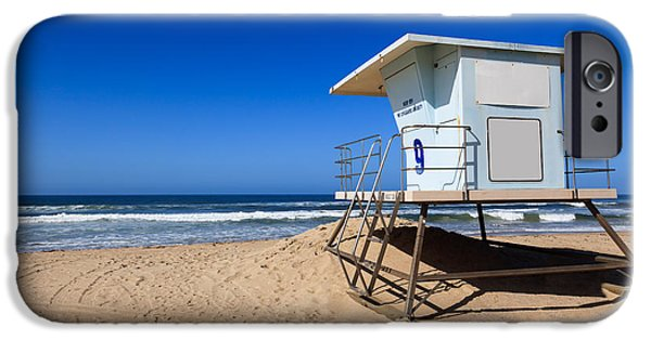 California Beach iPhone Cases - Huntington Beach Lifeguard Tower Photo iPhone Case by Paul Velgos