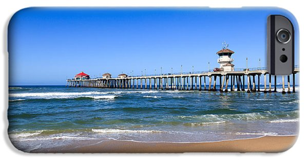 Getaway iPhone Cases - Huntington Beach Pier in Orange County California iPhone Case by Paul Velgos