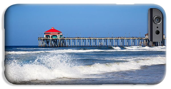 Waterfront Photographs iPhone Cases - Huntington Beach Pier Photo iPhone Case by Paul Velgos
