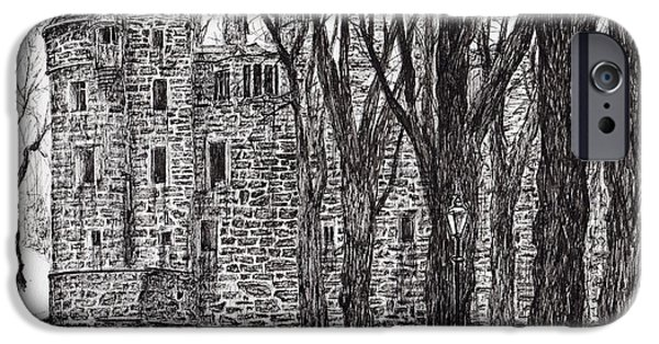 Ruin Drawings iPhone Cases - Huntly Castle iPhone Case by Vincent Alexander Booth