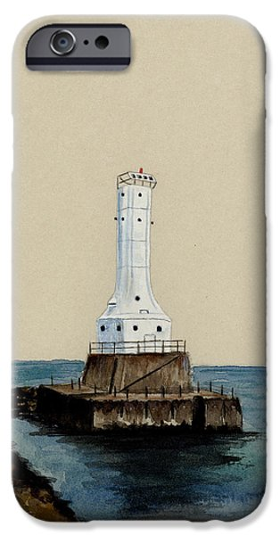 Lighthouse iPhone Cases - Huron Harbor Lighthouse iPhone Case by Michael Vigliotti