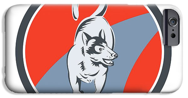 Huskies Digital Art iPhone Cases - Huskie Sled Dog Circle Retro iPhone Case by Aloysius Patrimonio