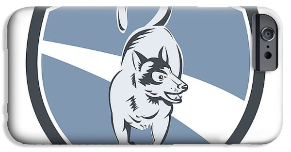 Huskies Digital Art iPhone Cases - Husky Dog Crest Retro iPhone Case by Aloysius Patrimonio