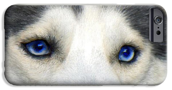 Huskies Digital Art iPhone Cases - Husky Eyes iPhone Case by Jane Schnetlage