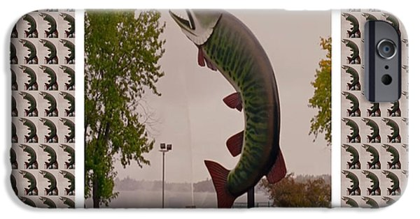Husky Mixed Media iPhone Cases - Husky The Muskie Kenora Ontario  Roadside Attractions Photography Artistic Graphic Digital touch  iPhone Case by Navin Joshi