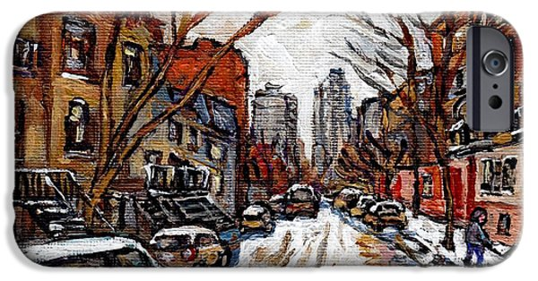 Hockey Paintings iPhone Cases - Hutchison At Prince Arthur Montreal Street Scene Painting Toward Downtown Kids Playing Hockey  iPhone Case by Carole Spandau