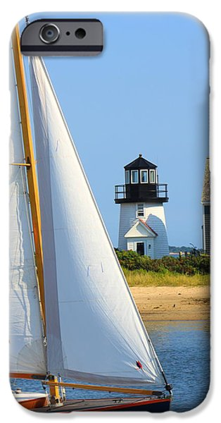 Cape Cod iPhone Cases - Hyannis Harbor Lighthouse Sailboat iPhone Case by John Burk