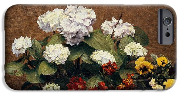 1879 iPhone Cases - Hydrangeas and Wallflowers and Two Pots of Pansies iPhone Case by Henri Jean Fantin-Latour