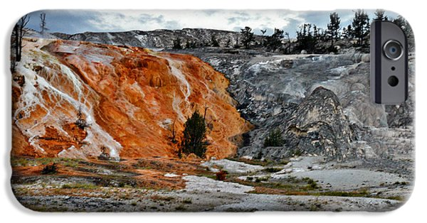 Terraces iPhone Cases - Hymen Terrace at Mammoth Hot Springs - Yellowstone National Park WY iPhone Case by Christine Till