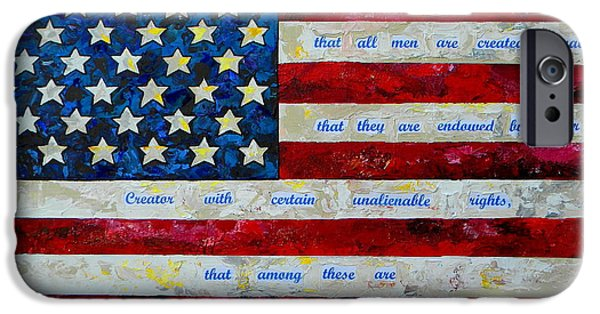 4th July Paintings iPhone Cases - I believe iPhone Case by Patti Schermerhorn