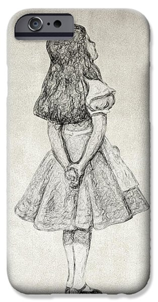 Alice In Wonderland Drawings iPhone Cases - I cant go back to yesterday Quote iPhone Case by Taylan Soyturk
