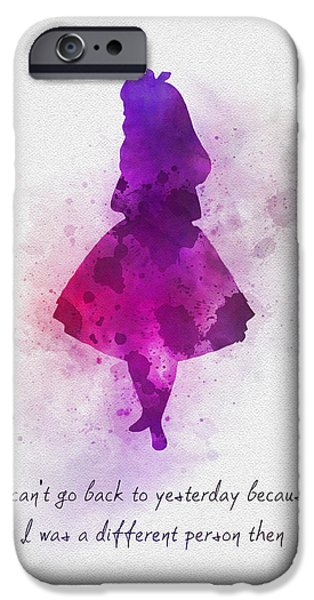 Alice iPhone Cases - I Cant go back to Yesterday iPhone Case by Rebecca Jenkins