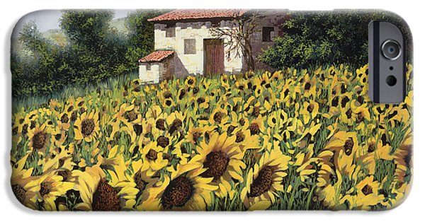 Farm iPhone Cases - I Girasoli Nel Campo iPhone Case by Guido Borelli