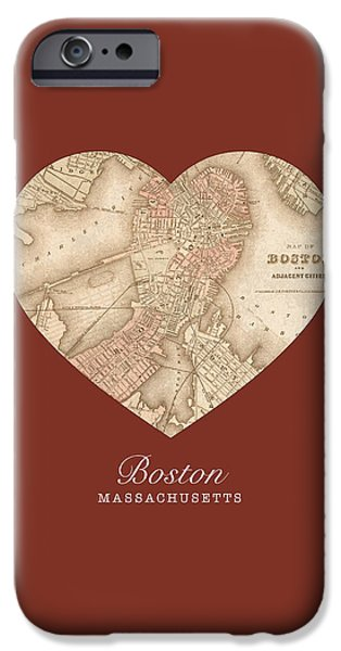 Boston Mixed Media iPhone Cases - I Heart Boston Massachusetts Vintage City Street Map Americana Series No 011 iPhone Case by Design Turnpike