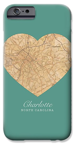 Charlotte iPhone Cases - I Heart Charlotte North Carolina Vintage City Street Map Americana Series No 008 iPhone Case by Design Turnpike