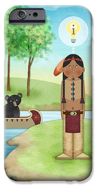 Canoe iPhone Cases - I is for Indian iPhone Case by Valerie   Drake Lesiak