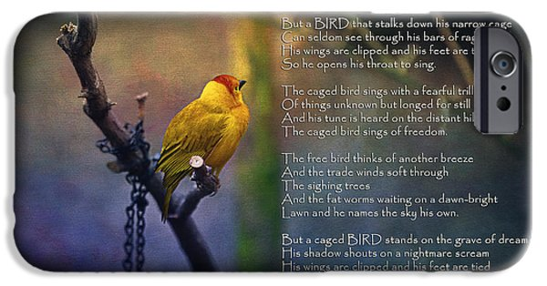 Recently Sold -  - Concept Digital Art iPhone Cases - I Know Why the Caged Bird Sings By Maya Angelou iPhone Case by Maria Angelica Maira