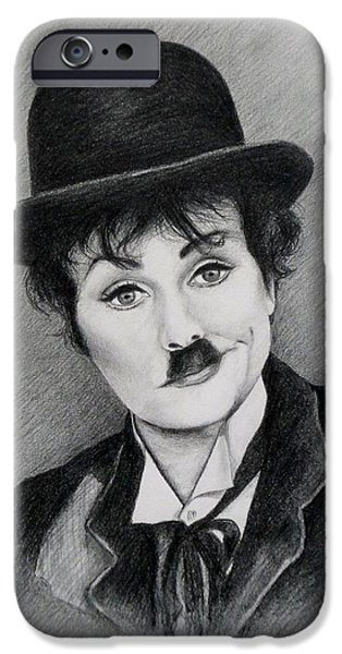 Chaplin iPhone Cases - I love Charlie iPhone Case by Lena Day