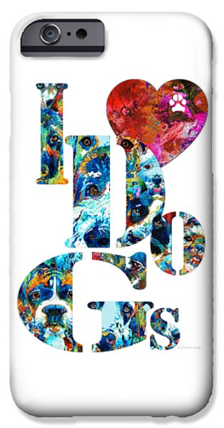 Huskies iPhone Cases - I Love Dogs by Sharon Cummings iPhone Case by Sharon Cummings