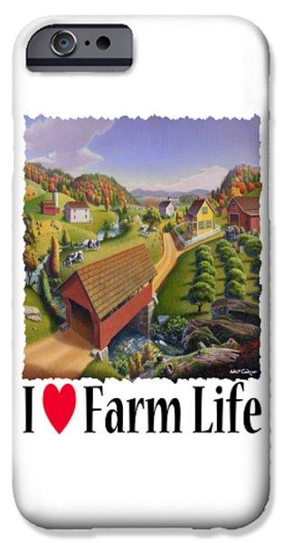 I Love America iPhone Cases - I Love Farm - Appalachian Covered Bridge - Rural Farm Landscape iPhone Case by Walt Curlee