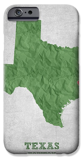 Usa Drawings iPhone Cases - I love Houston Texas - Green iPhone Case by Aged Pixel