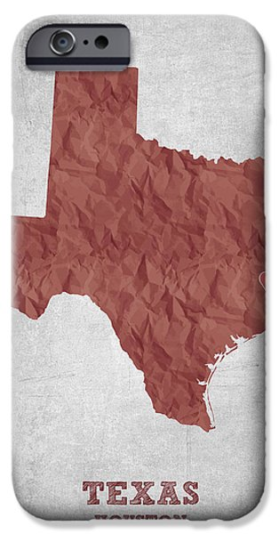 Usa Drawings iPhone Cases - I love Houston Texas - Red iPhone Case by Aged Pixel