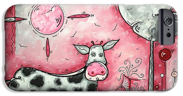 Farm iPhone Cases - I LOVE MOO Original MADART Painting iPhone Case by Megan Duncanson