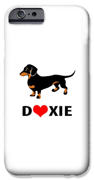 Dachshund Digital iPhone Cases - I Love My Doxie iPhone Case by Antique Images