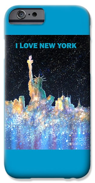 Statue Of Liberty Paintings iPhone Cases - I Love New York iPhone Case by Bill Holkham