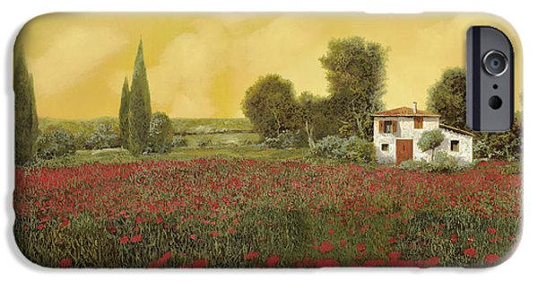 Close Paintings iPhone Cases - I Papaveri E La Calda Estate iPhone Case by Guido Borelli
