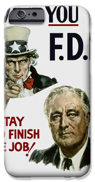 Franklin iPhone Cases - I Want You FDR  iPhone Case by War Is Hell Store