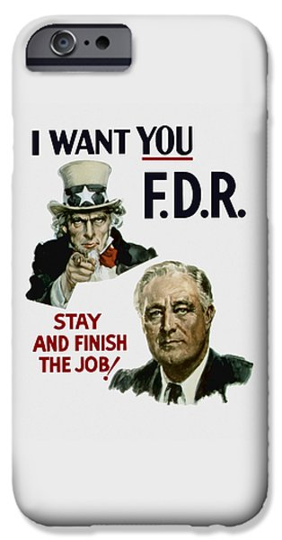 Democrat iPhone Cases - I Want You FDR  iPhone Case by War Is Hell Store