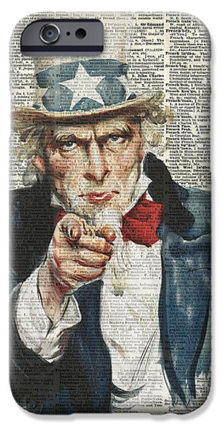 White Beard iPhone Cases - I Want You Uncle Sam iPhone Case by Jacob Kuch