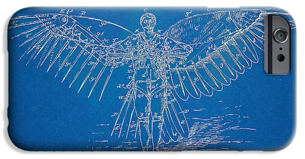Flight Digital Art iPhone Cases - Icarus Flying Machine Patent Artwork iPhone Case by Nikki Marie Smith
