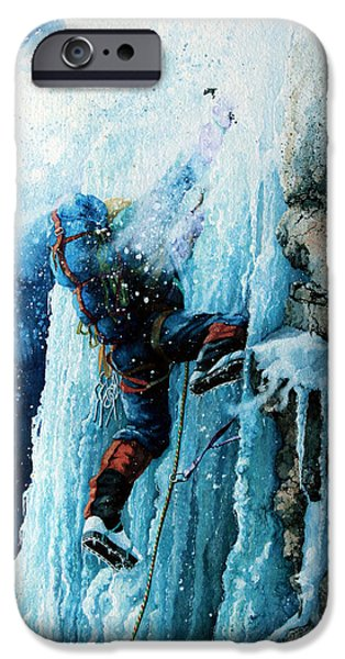 Winter Sports Paintings iPhone Cases - Ice Climb iPhone Case by Hanne Lore Koehler