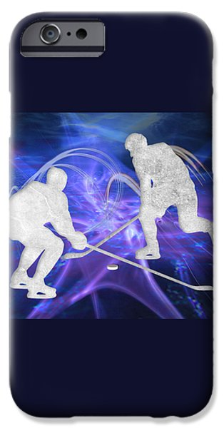 Hockey Paintings iPhone Cases - Ice Hockey Players Fighting for the Puck iPhone Case by Elaine Plesser