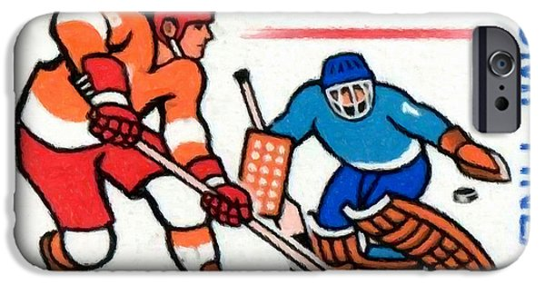 Hockey Paintings iPhone Cases - Ice Hockey players iPhone Case by Lanjee Chee