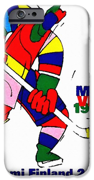 Hockey Paintings iPhone Cases - Ice Hockey World Championships iPhone Case by Lanjee Chee